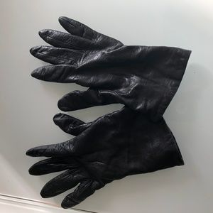 Neiman Marcus Black Leather cashmere lining
